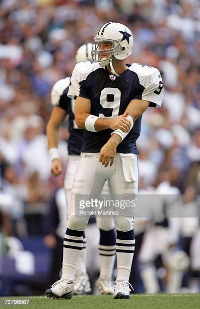 Quarterback Tony Romo of the Dallas Cowboys stands on the field during the game against the Tampa Bay Buccaneers at Texas Stadium November 23 2006 in...