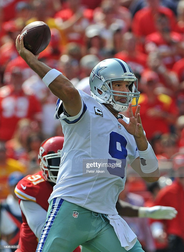 Quarterback <a gi-track='captionPersonalityLinkClicked' href=/galleries/search?phrase=Tony+Romo&family=editorial&specificpeople=756503 ng-click='$event.stopPropagation()'>Tony Romo</a> #9 of the Dallas Cowboys throws a pass down field against the Kansas City Chiefs during the second half on September 15, 2013 at Arrowhead Stadium in Kansas City, Missouri. Kansas City defeated Dallas 17-16.