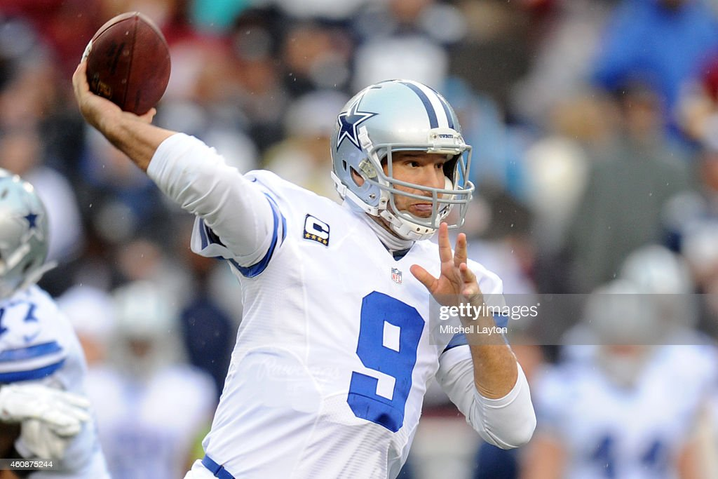 Quarterback Tony Romo of the Dallas Cowboys throws a pass in the third quarter during a NFL football game against the Washington Redskins at...