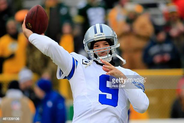 Quarterback Tony Romo of the Dallas Cowboys warms up prior to the 2015 NFC Divisional Playoff game against the Green Bay Packers at Lambeau Field on...