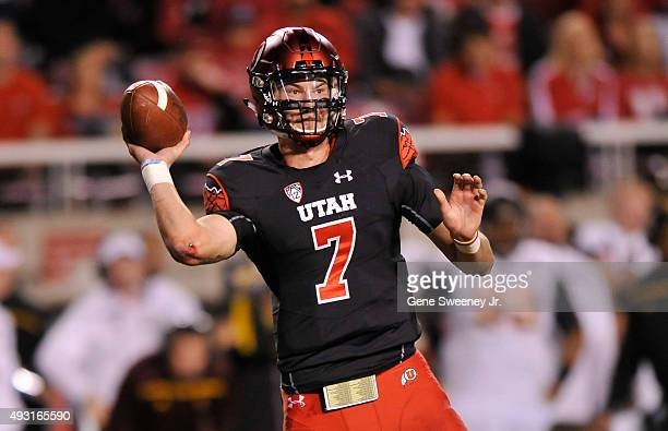 Quarterback Travis Wilson of the Utah Utes passes the ball in the second quarter of their game against the Arizona State Sun Devils at RiceEccles...