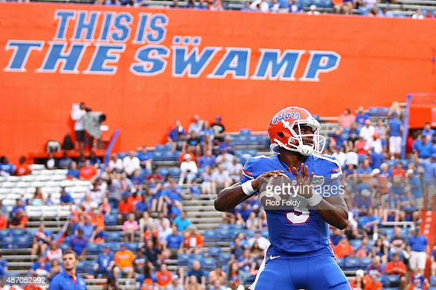 Quarterback Treon Harris of the Florida Gators warms up prior to the start of the game against the New Mexico State Aggies at Ben Hill Griffin...