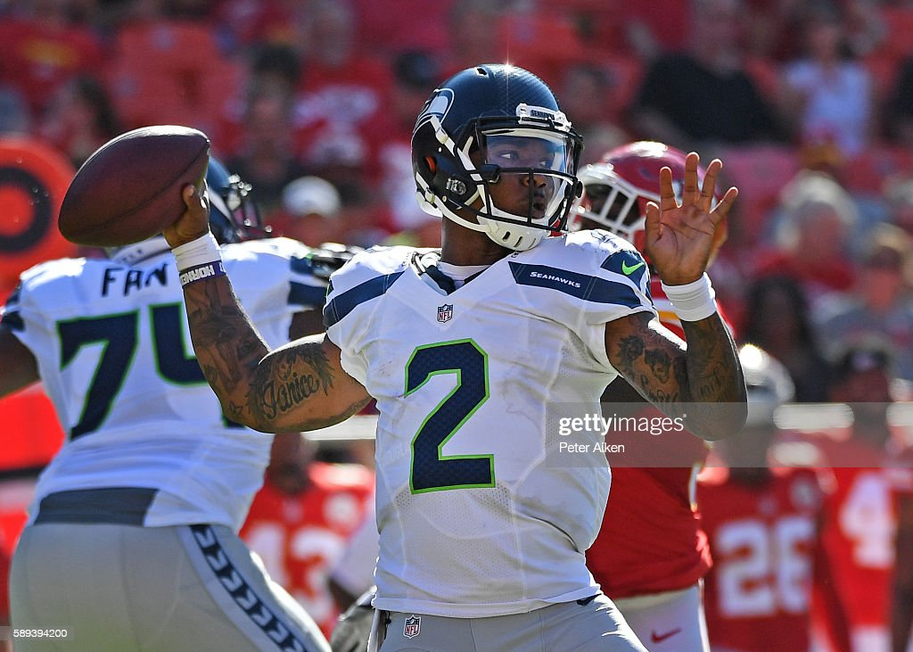 Quarterback Trevone Boykin #2 of the Seattle Seahawks drops back to pass against the Kansas City Chiefs during the second half on August 13, 2016 at Arrowhead Stadium in Kansas City, Missouri.
