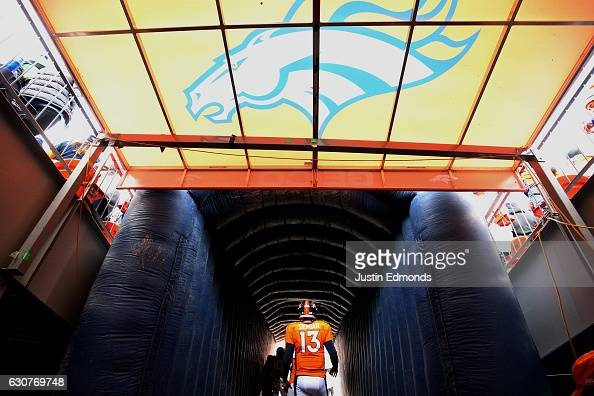 Quarterback Trevor Siemian of the Denver Broncos waits to take the field before the game against the Oakland Raiders at Sports Authority Field at...