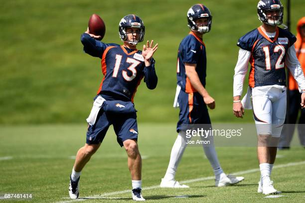 Quarterback Trevor Siemian of the Denver Broncos warming up on the first week of OTAs at the UCHealth Training Center May 23 2017 in Englewood...