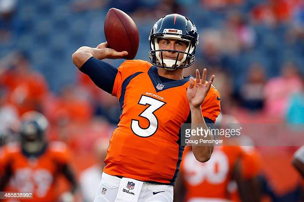 Quarterback Trevor Siemian of the Denver Broncos warms up prior to facing the San Francisco 49ers during preseason action at Sports Authority Field...