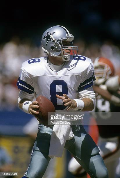 Quarterback Troy Aikam of the Dallas Cowboys drops back to pass against the Cleveland Browns September 1 1991 during a NFL football game at Cleveland...