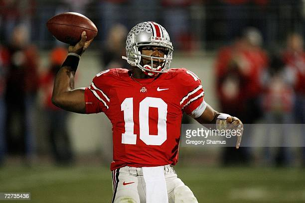 Quarterback Troy Smith of the Ohio State Buckeyes throws a pass against the Michigan Wolverines on November 18 2006 at Ohio Stadium in Columbus Ohio...