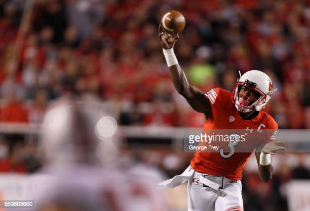 Quarterback Troy Williams of the Utah Utes looks to pass the ball during the first half of an college football game against the Stanford Cardinal on...