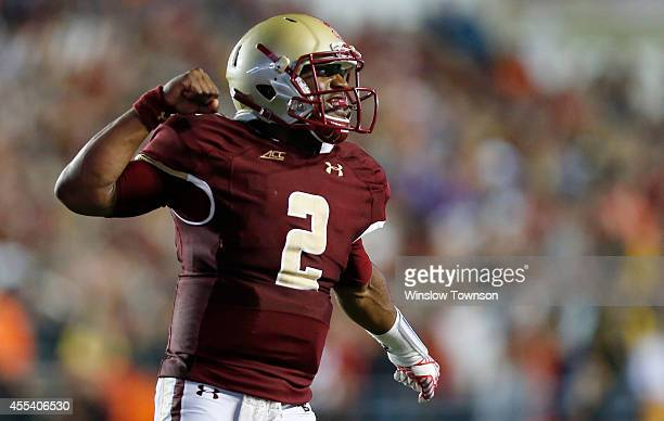 Quarterback Tyler Murphy of the Boston College Eagles celebrates a touchdown during the second half of BC's 3731 win over the USC Trojans at Alumni...