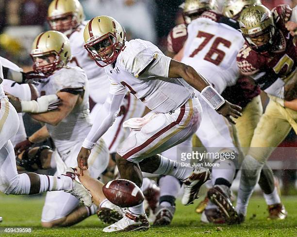 Quarterback Tyler Murphy of the Boston College Eagles fumbles the ball during the game against the thirdranked Florida State Seminoles at Doak...