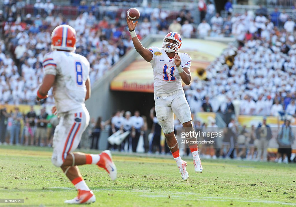 Quarterback Tyler Murphy #11 of the Florida Gators releases a pass against the Penn State Nittany Lions January 1, 2011 in the 25th Outback Bowl at Raymond James Stadium in Tampa, Florida.