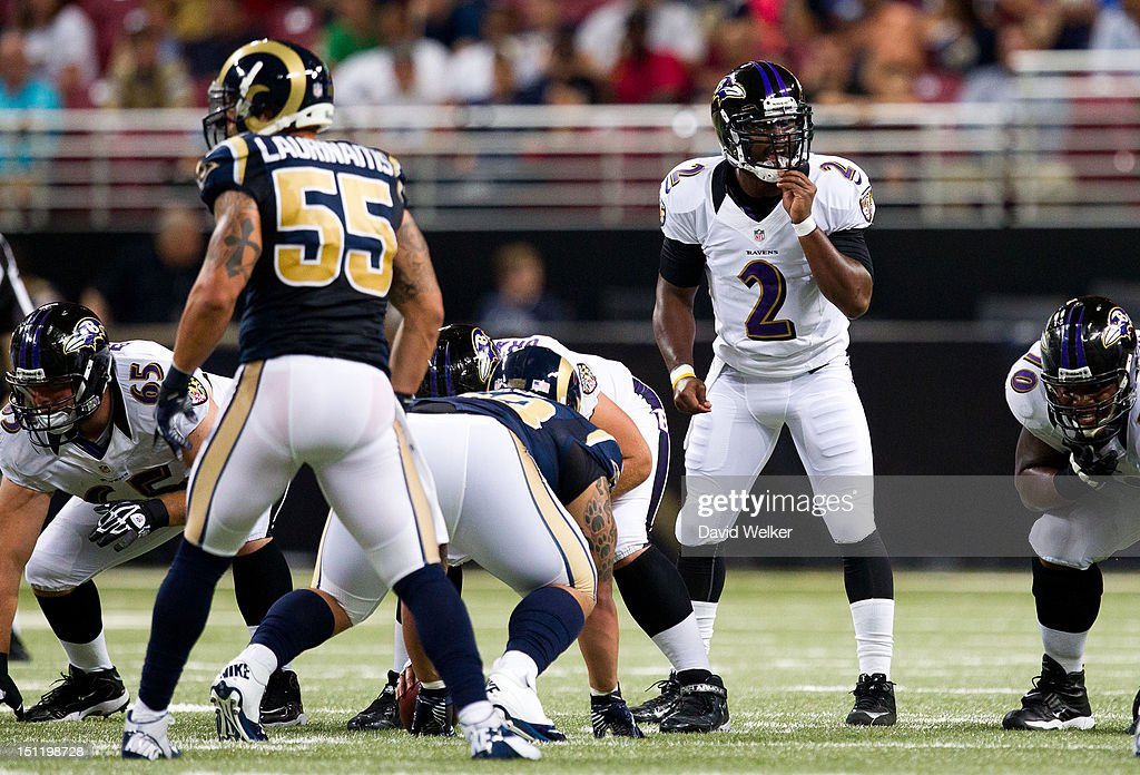Quarterback Tyrod Taylor #2 of the Baltimore Ravens calls an audible at the line of scrimmage during the game against the St. Louis Rams at the Edward Jones Dome on August 30, 2012 in St. Louis, Missouri. The St. Louis Rams defeated the Baltimore Ravens 31-17.