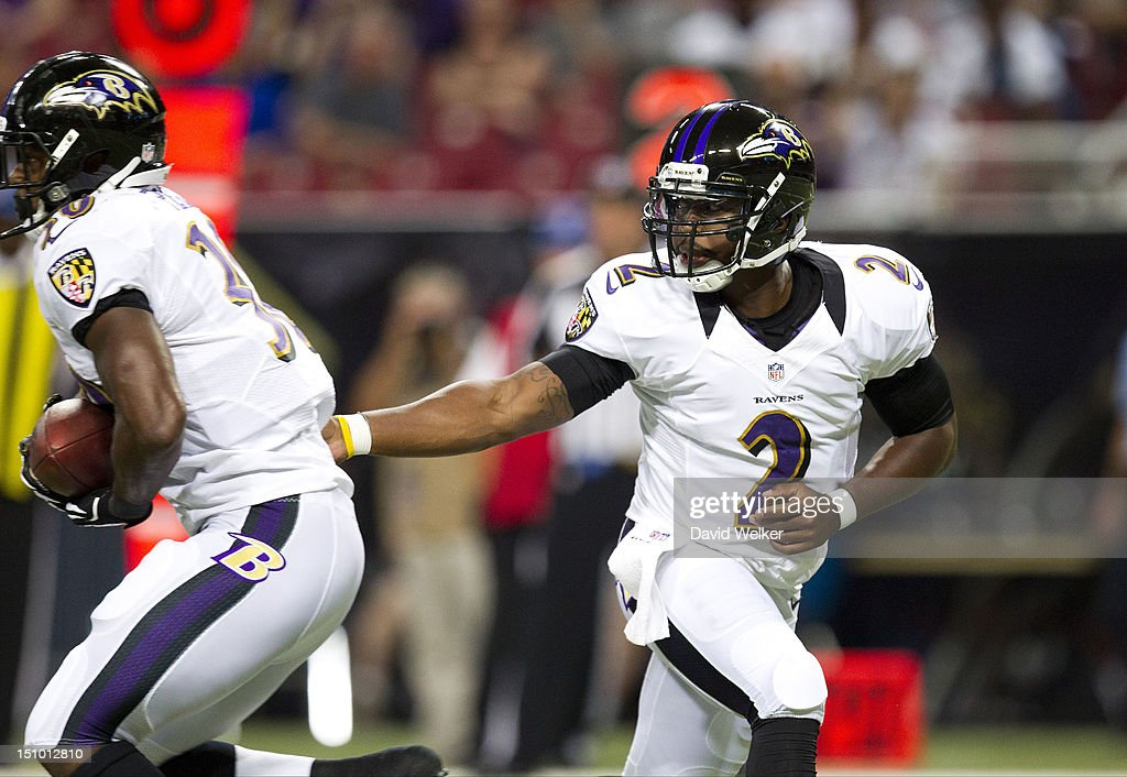 Quarterback Tyrod Taylor #2 of the Baltimore Ravens hands off to running back Bernard Pierce #30 during the game against the St. Louis Rams at the Edward Jones Dome on August 30, 2012 in St. Louis, Missouri.