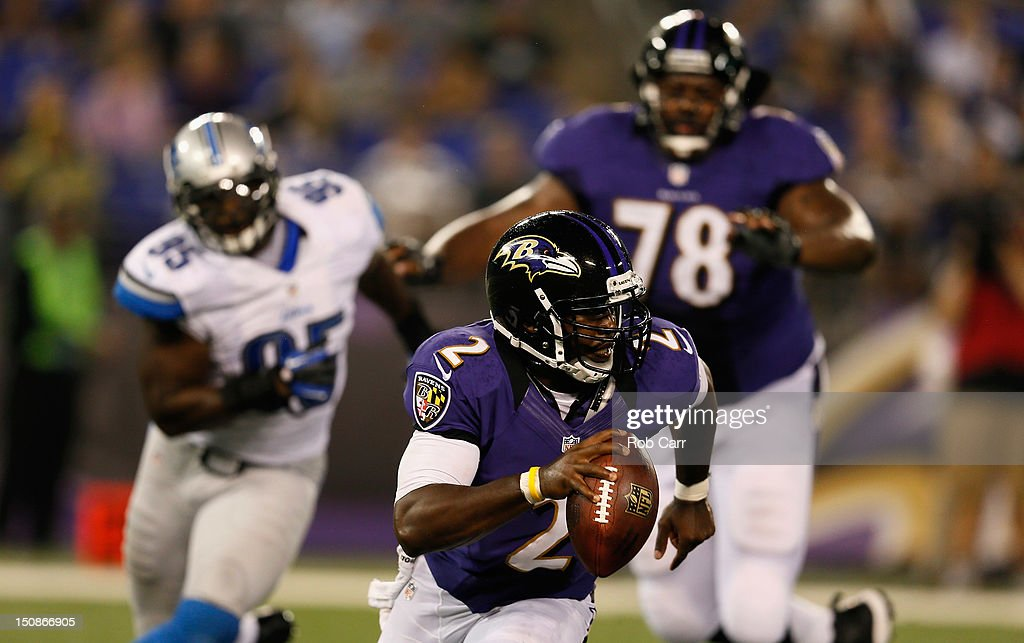 Quarterback Tyrod Taylor #2 of the Baltimore Ravens looks to pass against the Detroit Lions at M&T Bank Stadium on August 17, 2012 in Baltimore, Maryland.