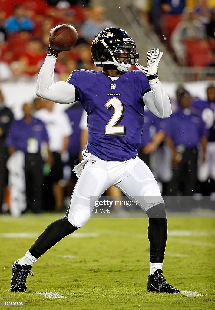 Quarterback <a gi-track='captionPersonalityLinkClicked' href=/galleries/search?phrase=Tyrod+Taylor&family=editorial&specificpeople=4489709 ng-click='$event.stopPropagation()'>Tyrod Taylor</a> #2 of the Baltimore Ravens throws a pass against the Tampa Bay Buccaneers during a preseason game at Raymond James Stadium on August 8, 2013 in Tampa, Florida.