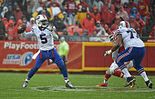 Quarterback Tyrod Taylor of the Buffalo Bills drops back to pass against the Kansas City Chiefs during the second half on November 29 2015 at...