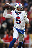 Quarterback Tyrod Taylor of the Buffalo Bills in action against the Washington Redskins at FedExField on December 20 2015 in Landover Maryland