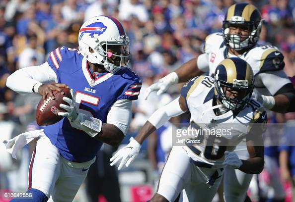 Quarterback Tyrod Taylor of the Buffalo Bills looks to pass from the pocket during the third quarter of the game against the Los Angeles Rams at the...