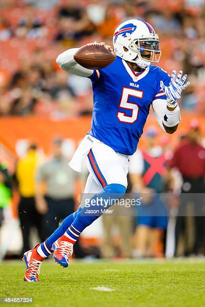 Quarterback Tyrod Taylor of the Buffalo Bills passes during the first half of a preseason game against the Cleveland Browns at FirstEnergy Stadium on...