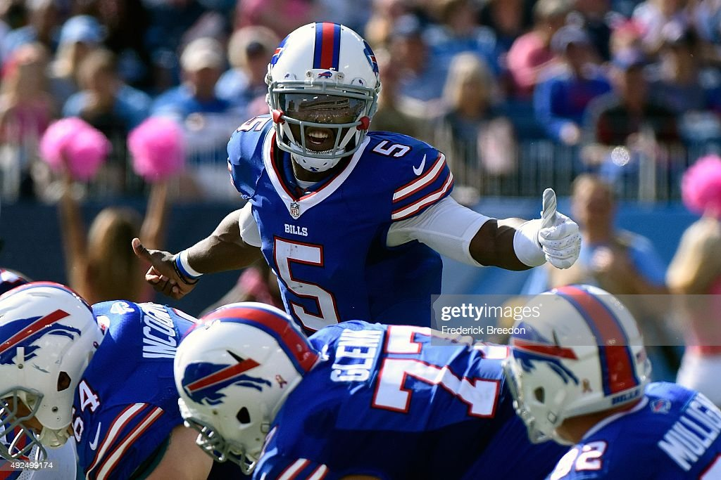 Quarterback Tyrod Taylor of the Buffalo Bills plays against the Tennessee Titans during a game at Nissan Stadium on October 11 2015 in Nashville...