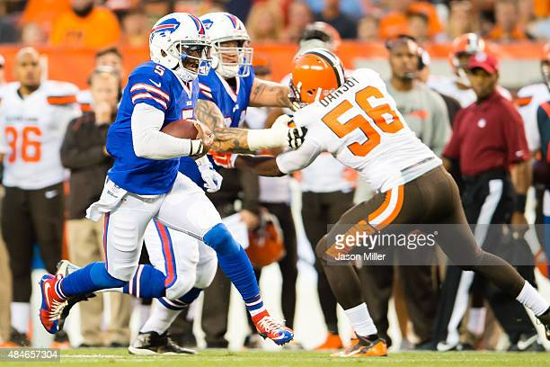 Quarterback Tyrod Taylor of the Buffalo Bills scrambles for a gain during the first half of a preseason game against the Cleveland Browns at...