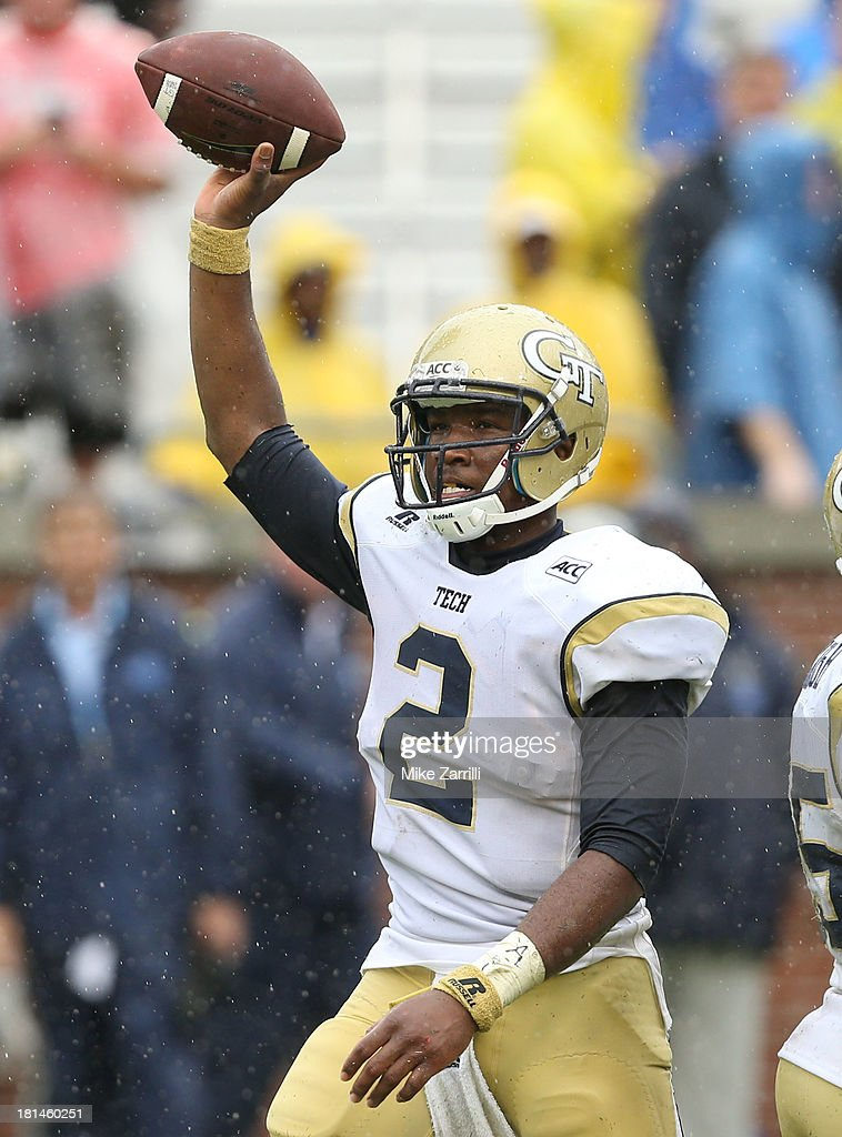Quarterback Vad Lee #2 of the Georgia Tech Yellow Jackets celebrates after the last snap of the game during the game against the North Carolina Tar Heels at Bobby Dodd Stadium at Historic Grant Field on September 21, 2013 in Atlanta, Georgia.