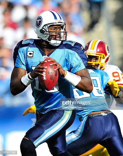 Quarterback Vince Young of the Tennessee Titans against the Washington Redskins at LP Field on November 21 2010 in Nashville Tennessee The Redskins...