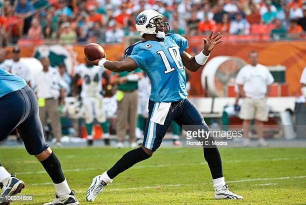 Quarterback Vince Young of the Tennessee Titans passes during a NFL game against the Miami Dolphins at Sun Life Stadium on November 14 2010 in Miami...