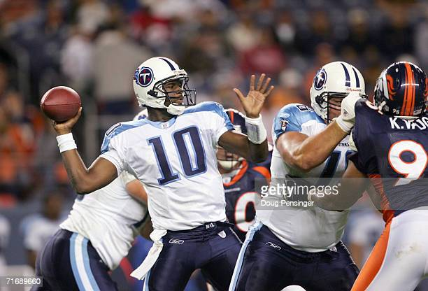 Quarterback Vince Young of the Tennessee Titans passes to a receiver against the Denver Broncos during preseason NFL action on August 19 2006 at Mile...