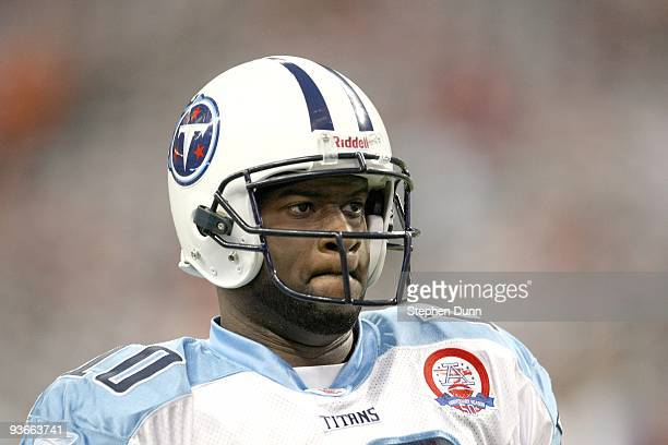 Quarterback Vince Young of the Tennessee Titans warms up for the game against the Houston Texans on November 23 2009 at Reliant Stadium in Houston...