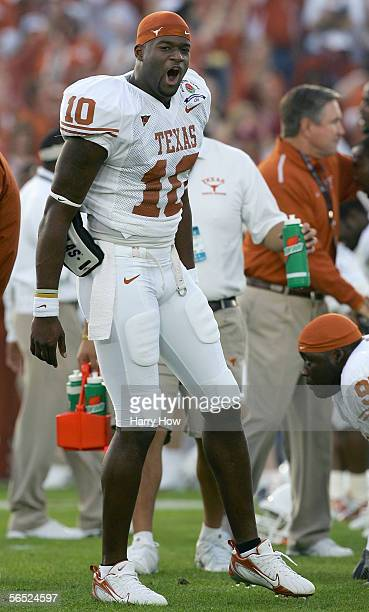 Quarterback Vince Young of the Texas Longhorns yells during warmups before the start of the BCS National Championship Rose Bowl Game against the USC...