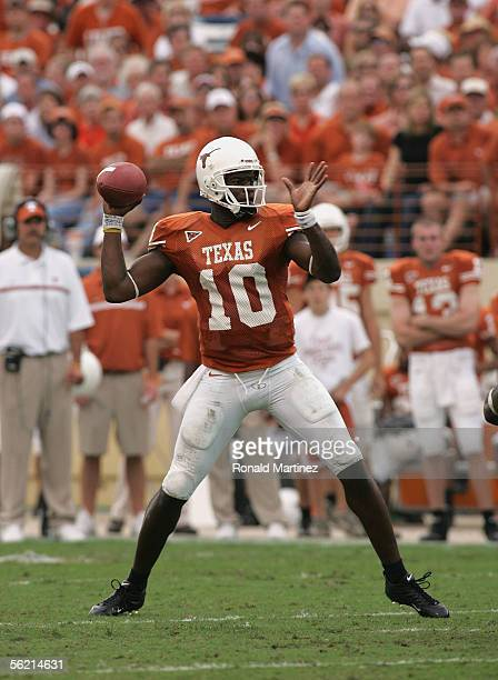 Quarterback Vince Young of the University of Texas Longhorns passes the ball against the University of Kansas Jayhawks on November 12 2005 at Texas...