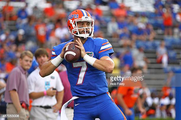 Quarterback Will Grier of the Florida Gators warms up prior to the start of the game against the New Mexico State Aggies at Ben Hill Griffin Stadium...