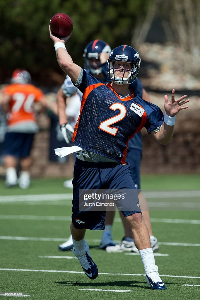 Quarterback Zac Dysert #2 of the Denver Broncos throws during rookie camp at Dove Valley on May 10, 2013 in Englewood, Colorado.
