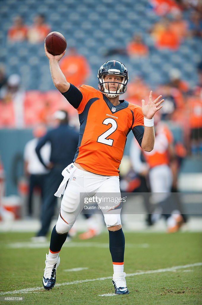 Quarterback <a gi-track='captionPersonalityLinkClicked' href=/galleries/search?phrase=Zac+Dysert&family=editorial&specificpeople=7172634 ng-click='$event.stopPropagation()'>Zac Dysert</a> #2 of the Denver Broncos throws the ball during warm up before a preseason game against the Seattle Seahawks at Sports Authority Field Field at Mile High on August 7, 2014 in Denver, Colorado.