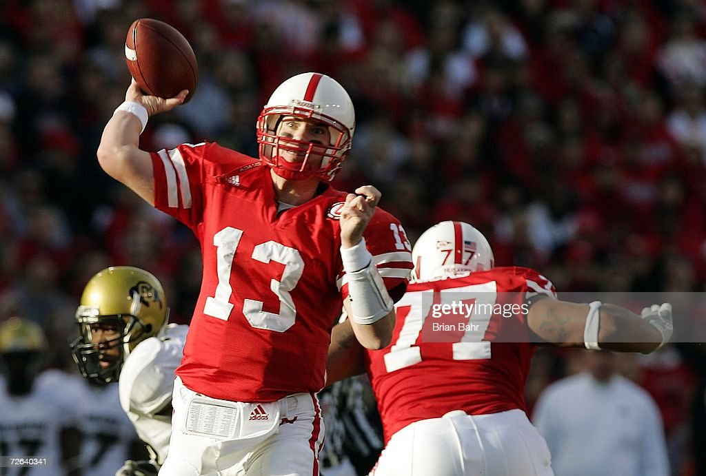 Quarterback Zac Taylor #13 of the Nebraska Cornhuskers throws a touchdown to wide receiver Dusty Sprague in the first quarter on November 24, 2006 at Memorial Stadium in Lincoln, Nebraska.