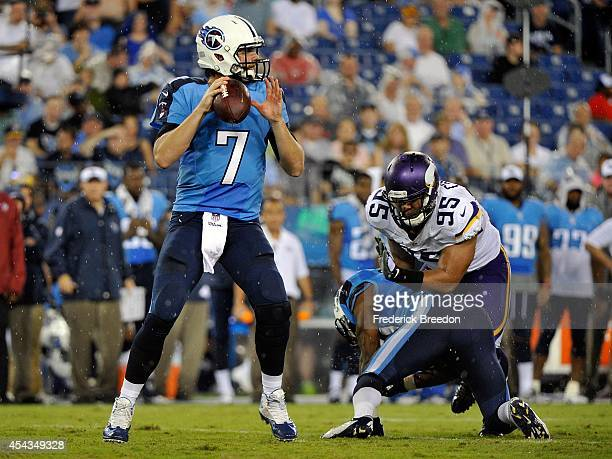 Quarterback Zach Mettenberger of the Tennessee Titans drops back for a pass against of the Minnesota Vikings at LP Field on August 28 2014 in...