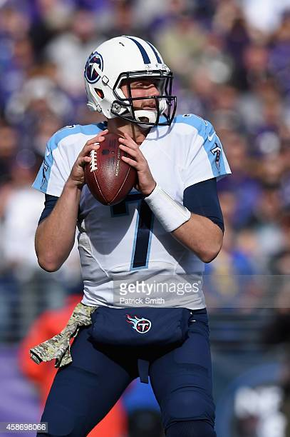 Quarterback Zach Mettenberger of the Tennessee Titans drops back to pass during the first quarter of a game against the Baltimore Ravens at MT Bank...