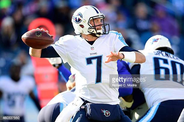 Quarterback Zach Mettenberger of the Tennessee Titans passes during a NFL game against the New York Giants at LP Field on December 7 2014 in...