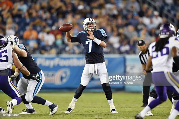 Quarterback Zach Mettenberger of the Tennessee Titans passes during a NFL preseason game against the Minnesota Vikings at Nissan Stadium on September...