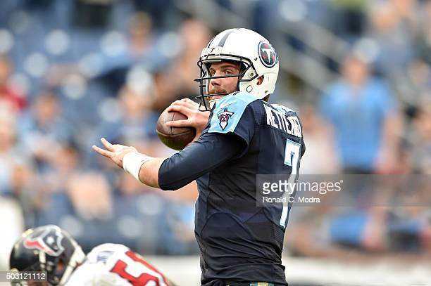 Quarterback Zach Mettenberger of the Tennessee Titans passes during a NFL game against the Houston Texans at Nissan Stadium on December 27 2015 in...