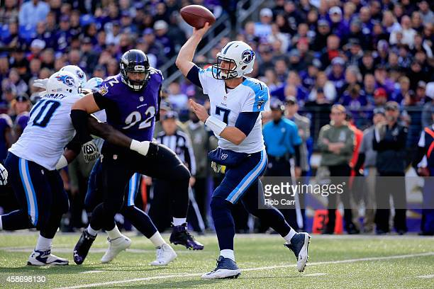 Quarterback Zach Mettenberger of the Tennessee Titans passes during the first quarter of a game against the Baltimore Ravens at MT Bank Stadium on...