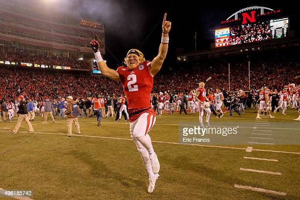 Quarterback Zack Darlington of the Nebraska Cornhuskers celebrates after their defeating Michigan State Spartans at Memorial Stadium on November 7...