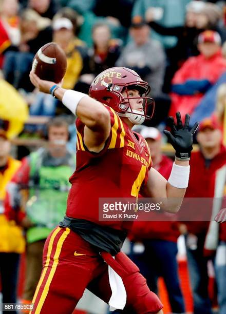 Quarterback Zeb Noland of the Iowa State Cyclones throws the ball in the second half of play against the Kansas Jayhawks at Jack Trice Stadium on...