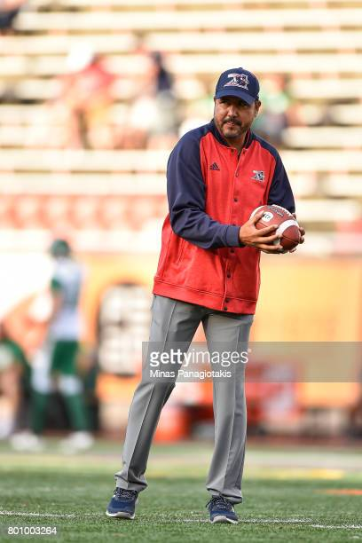 Quarterbacks coach of the Montreal Alouettes Anthony Calvillo looks on during the warmup prior to the CFL game against the Saskatchewan Roughriders...