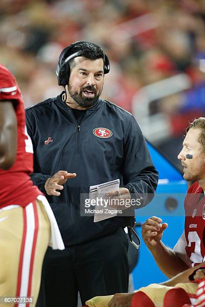 Quarterbacks Coach Ryan Day of the San Francisco 49ers talks with Blaine Gabbert during the game against the Los Angeles Rams at Levi Stadium on...