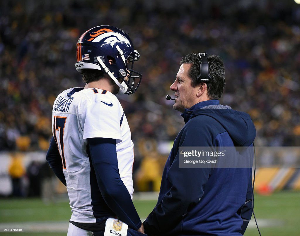 Quarterbacks coach/passing game coordinator <a gi-track='captionPersonalityLinkClicked' href=/galleries/search?phrase=Greg+Knapp&family=editorial&specificpeople=750404 ng-click='$event.stopPropagation()'>Greg Knapp</a> of the Denver Broncos talks to quarterback <a gi-track='captionPersonalityLinkClicked' href=/galleries/search?phrase=Brock+Osweiler&family=editorial&specificpeople=6501030 ng-click='$event.stopPropagation()'>Brock Osweiler</a> #17 during a game against the Pittsburgh Steelers at Heinz Field on December 20, 2015 in Pittsburgh, Pennsylvania. The Steelers defeated the Broncos 34-27.