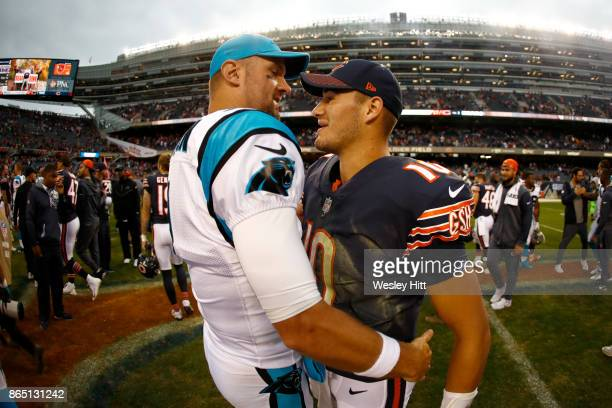 Quarterbacks Derek Anderson of the Carolina Panthers and Mitchell Trubisky of the Chicago Bears hug after the Bears defeated the Carolina Panthers...