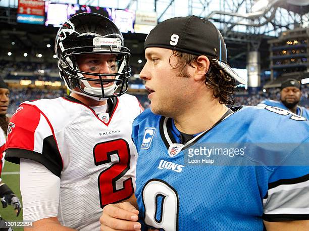 Quarterbacks Matt Ryan of the Atlanta Falcons and Matthew Stafford of the Detroit Lions shake hands after the game at Ford Field on October 23 2011...